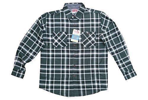 Ex-Chain Wrangler da uomo a maniche lunghe, 100% cotone, motivo a scacchi, camicie da donna, stile Casual verde Small