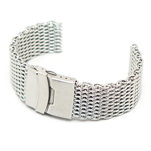 Thick clunky with cool stainless steel shark mesh watch belt / replacement springs with 2 sticks (20 mm shorter width 14.5 cm)