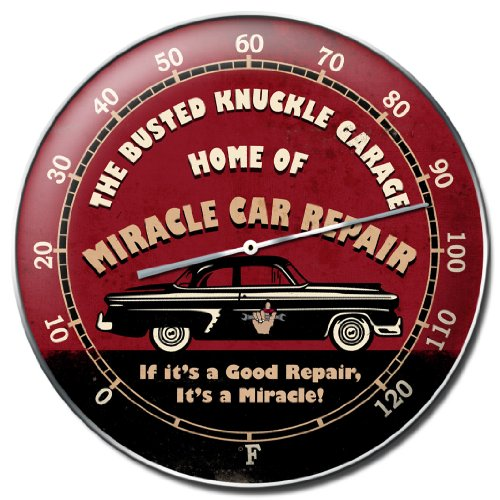 Busted Knuckle Garage BUST098 Round Car Repair Wall Thermometer (Busted Knuckle Garage Clock compare prices)