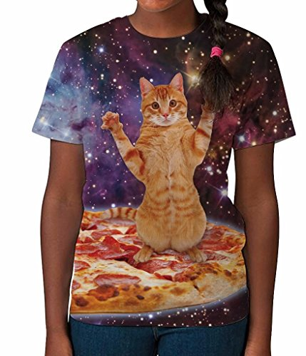 Pizza Cat in Space Funny Novelty Lover Animal Girls Unisex Kids Child T Shirt