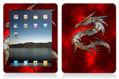 Bundle Monster Vinyl Skin Case Cover Art Decal Sticker Protector Accessories for Apple Ipad Tablet 16gb, 32gb, 64gb Wifi or 3G - Red Dragon