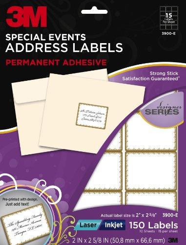 3m designer special events address labels laser inkjet gold border 2 x 2 5 8 inches 10. Black Bedroom Furniture Sets. Home Design Ideas