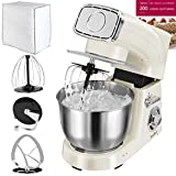 VonShef Stand Mixer, 5.5 Litre, 1200W, Cream - Silicone Beater, Balloon Whisk, Dough Hook, Dust Cover & Splash Guard