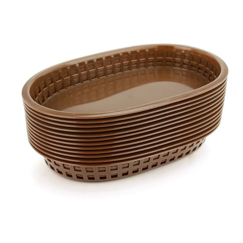 New Star 44003 Fast Food Baskets, 10.5 by 7-Inch, Brown, Set of 12