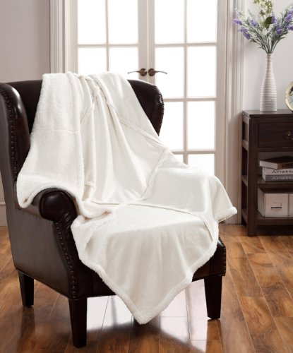 Victoria Classics Lisa Sherpa Patchwork Throw, Ivory