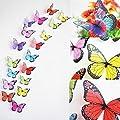 18pcs 3D Butterfly Sticker Art Design Decal Wall Stickers Home Decor (Mix Color (18pcs))