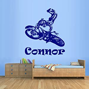Wall decal art decor decals sticker kids for Dirt bike wall mural