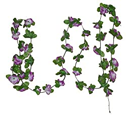 Artificial Long Hanging Purple Rose Green Leaves Plant Leaf Silk Cloth Flower 2.5Meter Length Vine Garland Flower Leaves For Home, Party, Wedding, Fencing, Floral, Festival Decoration