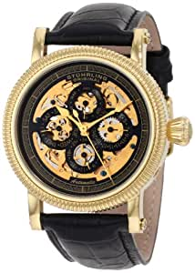 Stuhrling Original Symphony Maestro II Men's Automatic Watch with Gold Dial Analogue Display and Black Leather Strap 150A.333530