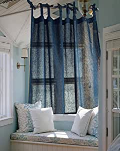 Slv blue pin striped organic linen semi sheer semi gauze tie top tabs living room - Amazon curtains living room ...