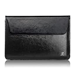 [Genuine Leather] Microsoft Surface Pro 3/4 Sleeve Bag, iXCC Sleeve Case with Magnetic Folding Front Cover and Hidden Stylus Pen Holder - Black