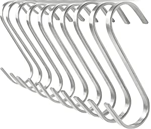 Pro Chef Kitchen Tools Stainless Steel Metal S Hook - Flat 10 Pack Set Brushed Metal Multipurpose Hooks Food Safe for Butcher Meats, Organizing Utensils, Pots and Pans, Jewelry, Belts, Closets