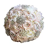 Abbie Home Luxury Rhinestone Covered Wedding Bridal Flower - Crystal Pearls and Jewels Decorated Rose Bouquet in Champagne Blush (Champagne) (Color: Champagne)
