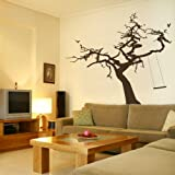 Tree & Rope Tree Wall Sticker / Giant Vinyl Art Decor / Tree Wall Transfer ne32