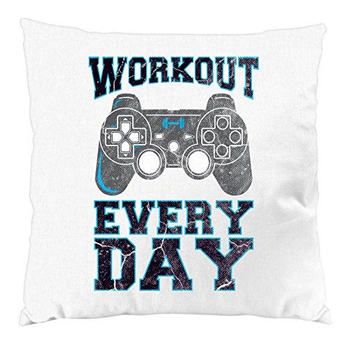 style3 Gamer Workout Kissen mit Füllung 28 x 28 cm Baumwollbezug, Farbe:Weiß