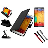 BoddBan Samsung Galaxy Note 3 Ultra Slim / Light Case Wallet Cover Leather (PU) Black - N9000 GT-N9002 N9005 16GB 32GB Smart Book Protective Magnetic Folio Flip Case + 3 pcs Capacitive Stylus Touch Screen Pen & Screen Protector