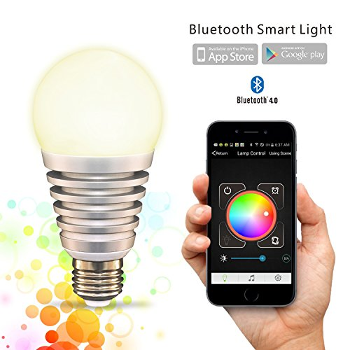 Flux™ SuperLight Bluetooth LED Smart Light Bulb - Smartphone Controlled Dimmable Multicolored Color Changing Lights - Works with iPhone, iPad, Android Phone and Tablet - 60 Watt Equivalent