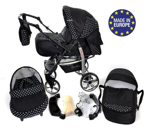 3-in-1 Travel System incl. Baby Pram with Swivel Wheels, Car Seat, Pushchair & Accessories, Black & White Polka Dots