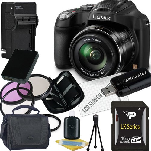 Panasonic Lumix DMC-FZ70 Digital Camera + 16GB SDHC Memory Card + USB SDHC Memory Card Reader + UV FILTER 55MM + CC UV, Florescent, Polarizer Filter Kit (Protect Your Lens!) + Weather Resistant Carrying Case w/Strap + Memory Card Wallet + Two Rechargeable Lithium Ion Replacement Battery + Rapid External Ac/Dc Charger Kit (Panasonic Lumix Dmc Fz70 Battery compare prices)