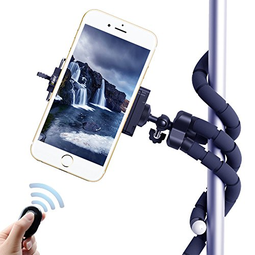 iEazy 3in1 Portable Octopus Style Adjustable Tripod Selfie Stick Stand and Holder with Bluetooth Wireless Remote Shutter for iphone 6 6s Plus /Samsung S6 and other Smartphones- Black