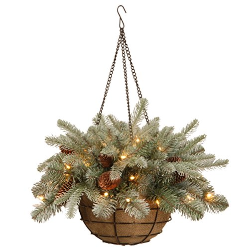 White light Hanging Christmas Basket