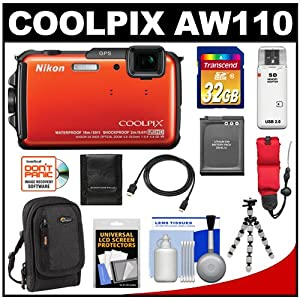 Nikon Coolpix AW110 Shock & Waterproof GPS Wi-Fi Digital Camera (Orange) with 32GB Card + Battery + Case + Float Strap + HDMI Cable + Flex Tripod + Accessory Kit