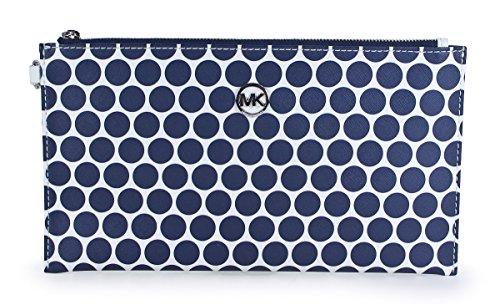 Michael Kors Kiki Printed Dot Large Zip Clutch In White & Navy