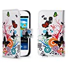 32nd® Designer book wallet PU leather case cover for Samsung Galaxy S3 Mini (S iii Mini) i8190 + screen protector and cloth - Colour Butterfly