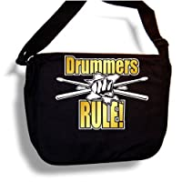 Drum Fist & Sticks Drummers Rule - MusicaliTee Sheet Music & Accessory Messenger Bag Carry Case - Gold by MusicaliTee