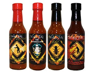 Ghost Pepper And Habanero Hot Sauce 4 Pack Wicked Tickle by Wicked Tickle