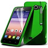 ( Green ) Huawei Ascend Y550 Case Stylish Designed S Line Wave Gel Skin Cover With LCD Screen Protector Guard, Polishing Cloth & Mini Retractable Stylus Pen by Fone-Case