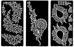 Zaffron Henna Mehendi Stencil Sheets for Eid Ramadan Mehendi Raat or Wedding Parties (Design Pack 6, Set of 6 Sheets)