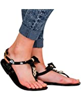 MISS TA DAA Womens Buckle Flat Toe Post Bow Chain Detail Jelly Sandals Ladies Shoes 3-8 UK