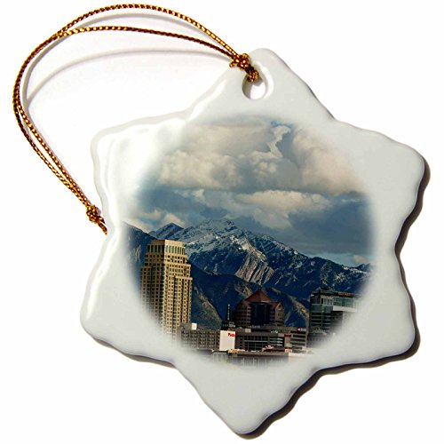 3dRose Danita Delimont - Utah - Salt Lake City with Wasatch Front, Utah, USA - US45 HGA0460 - Howie Garber - 3 inch Snowflake Porcelain Ornament (orn_147345_1)