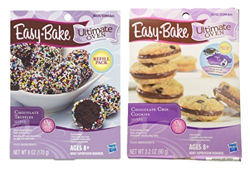easy-bake-cookie-oven-refill-pack-chocolate-truffles-chocolate-chip-cookies-2-ct-bundle-by-hasbro