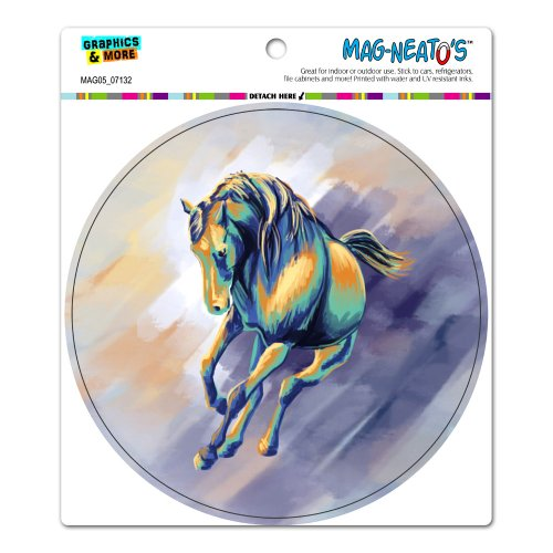 Horse Running - Painting Cool Colors Circle Mag-Neato'Stm Automotive Car Refrigerator Locker Vinyl Magnet front-591090