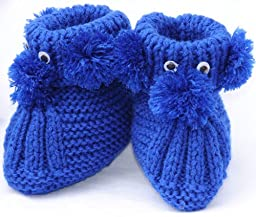 Knit Puppy Booties, Size: 0-12 M, Color: Dark Blue