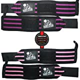 Wrist Wraps (2 Pairs/4 Wraps) for Weightlifting/Crossfit/Powerlifting - For Women & Men - Premium Quality Equipment & Accessories for the Absolutely Best Hand Strength & Support Possible - Guard & Brace Your Wrists With this Gear to Avoid Injury During Weight Lifting - (Black/Pink & Black/Purple) - 1 Year Warranty!