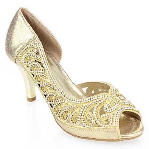 f36a6700178 Aarz Women Ladies Evening Diamante High Heel Sandal Prom Party Wedding  Bridal Shoes Size(Black