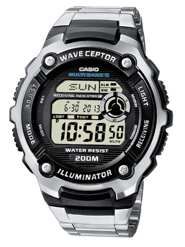 Casio Wave Ceptor WV-200DE-1AVER Men's Radio Controlled Digital Quartz Multifunction Watch with Steel Bracelet