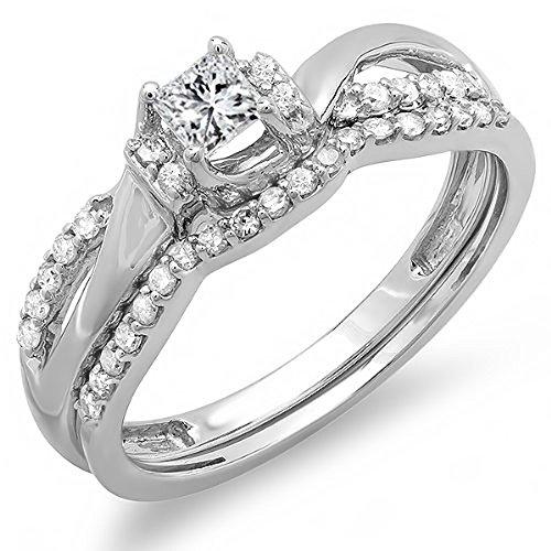 For sale 0.40 Carat (ctw) 10k White Gold Princess and Round Diamond Ladies Bridal Swirl Wave Ring Engagement Matching Band Wedding Set (Size 8.5)