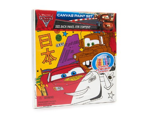 "Disney Paint Set Art Pixar Cars 2 10"" X 10"" Canvas 2 Brushes 5 Acrylic Paints"