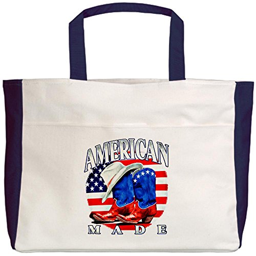 Royal Lion Beach Tote (2-Sided) US American Flag Country Cowboy Boots