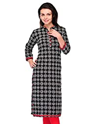 Awesome Fab Black Color Cotton Fabric Women's Straight Kurti