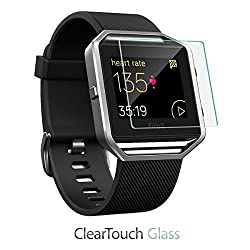 Fitbit Blaze Screen Protector, BoxWave [ClearTouch Glass] 9H Tempered Glass Screen Protection for Fitbit Blaze