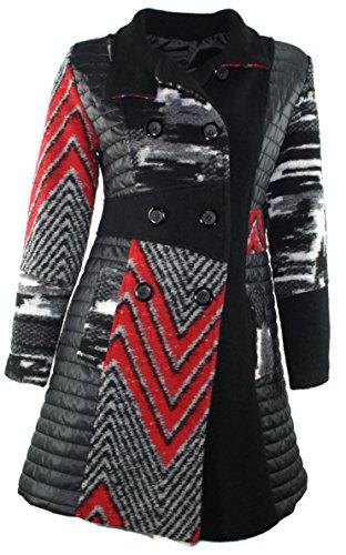 #678 Damen Designer Patchwork Winter Mantel Trenchcoat Wintermantel 36 38 40 42 (44, Schwarz)