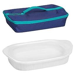 CorningWare® French White 3-qt Portable Rectangular Baker w/ Blue Carrier