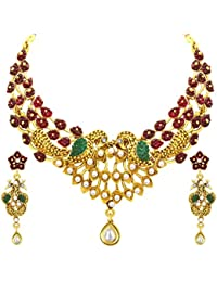 Sukkhi Incredible Peacock Gold Plated AD Necklace Set For Women