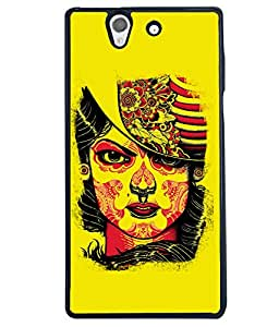 Fuson Yellow Face Pattern Back Case Cover for SONY XPERIA Z - D3910