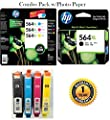 564XL High Capacity HP Ink Cartridges Combo-Pack (Black XL, Cyan XL, Magenta XL & Yellow XL) Color Printing Ink Photo Paper Deskjet Inkjet Copy